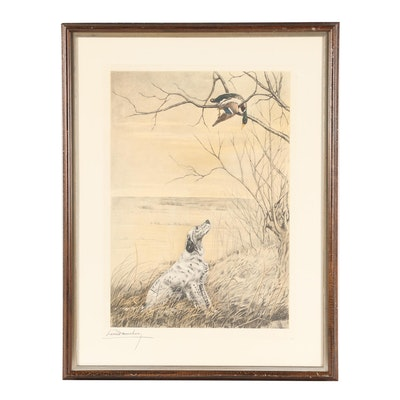 """Leon Danchin Color Engraving """"Hunting Dog Looking at a Duck"""""""
