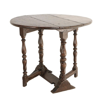 William and Mary Style Oak Diminutive Gateleg Table, 19th Century