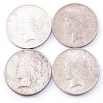 Four 1922 - 1923 Peace Dollars