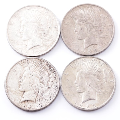 Four 1922 - 1923 Peace Dollars