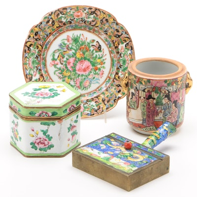 Chinese Hand-Painted Enameled, Porcelain and Earthenware Table Accessories