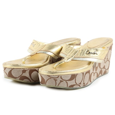Coach Signature and Metallic Platform Wedge Sandals
