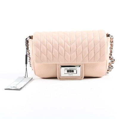 Karl Lagerfeld Paris Agyness Quilted Leather Shoulder Bag in Peony Pink