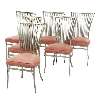 Deco Style Brushed Steel Dining Chairs, Late 20th Century, Set of Six