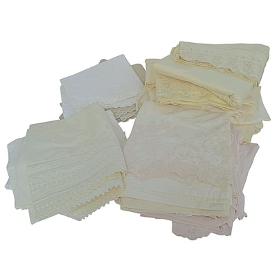 Porthault and Yves Delorme Cotton Sheet Sets with Lace Embroidery