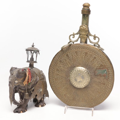 Decorative Indian Howdah Elephant with Middle-Eastern Ceremonial Canteen