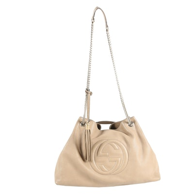 Gucci Tan Pebbled Leather Convertible Tote with Chain Strap and Tassel