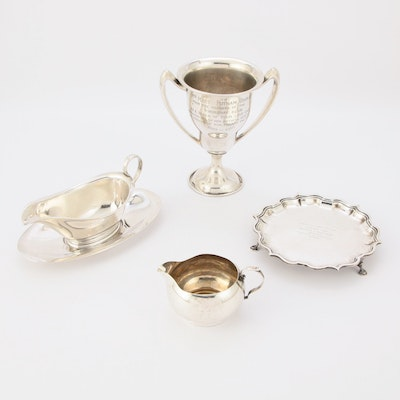 Gorham Sterling Silver Gravy Boat and  Mini Creamer plus Sterling Trophies