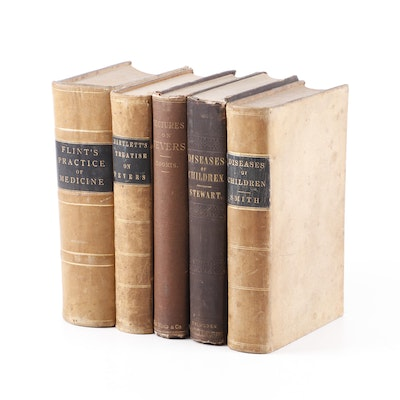 Leatherbound Textbooks on Fevers and Diseases of Children, 19th Century