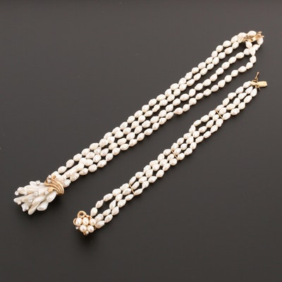 14K Yellow Gold Cultured Pearl and Diamond Bracelet and Necklace