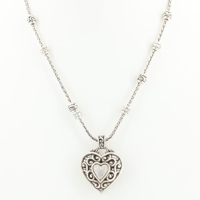 Brighton Heart Pendant Necklace with Station Accents