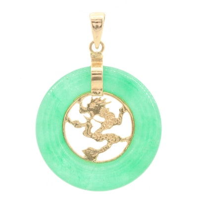 Chinese 14K Yellow Gold Jadeite Dragon Motif Carved Bi Pendant