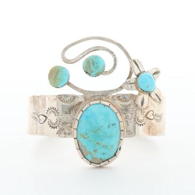 Bill Kirkham Sterling Silver Turquoise Cuff Bracelet