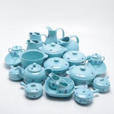"Cronin Pottery ""Blue Tulip"" Serveware Set, circa 1950s"