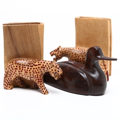 Tiger Bookends with Mallard Duck Wood Figure, Circa 1960s