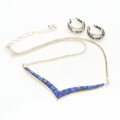 Sterling Silver Hoop Earrings and Desert Rose Trading Lapis Lazuli Necklace