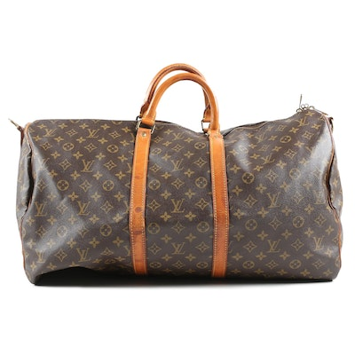 Louis Vuitton Paris Keepall Duffle in Monogram Canvas and Leather, 1986 Vintage