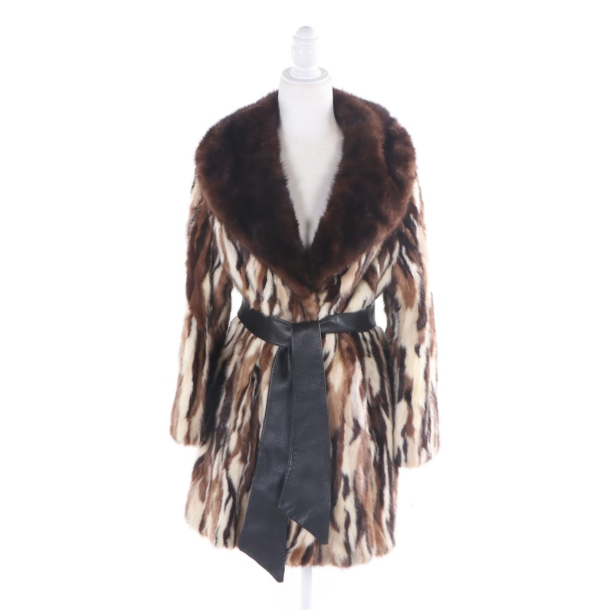 Marshall Field & Company Dyed Mink Fur Coat with Shawl Collar & Leather Tie Sash