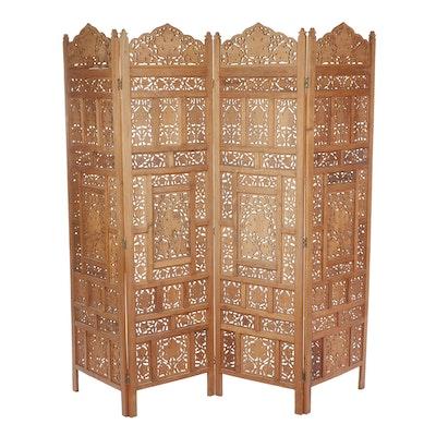 Indian Carved Wood Room Divider