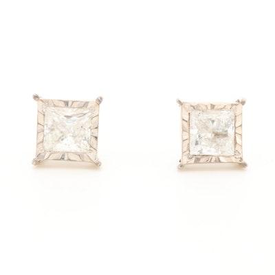 10K White Gold 1.00 CTW Diamond Stud Earrings