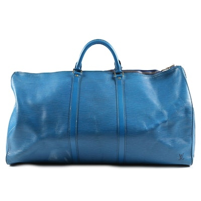 Louis Vuitton Paris Keepall 55 in Bleu Celeste Epi Leather