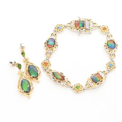 Sterling Silver Bracelet and Earrings with Ammolite, Blue Topaz and Diamonds