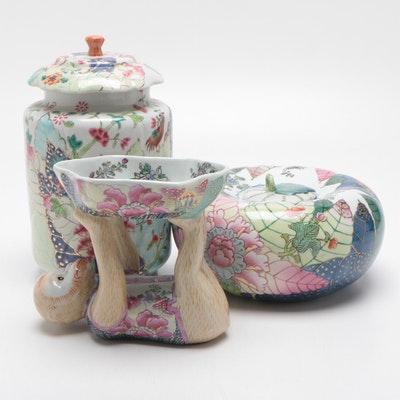 Hand-Decorated Lidded Vessels and Monkey Trinket Tray, Mid to Late 20th Century