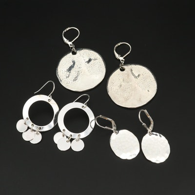 Assortment of Dangle Earrings Including a Pair of Sterling Silver Earrings