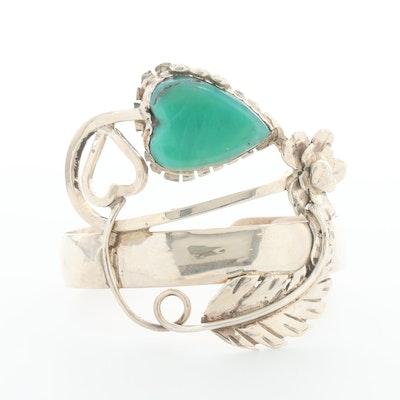 Bill Kirkham Sterling Silver Chrysoprase Cuff Bracelet