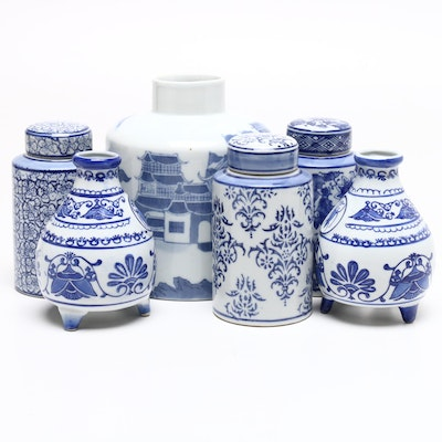 Chinese Canton Porcelain Ginger Jar with Other Ginger Jars and Vases