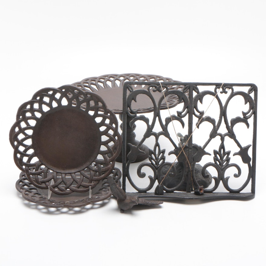 Cast Iron Cookbook Stand, Compote and Plates