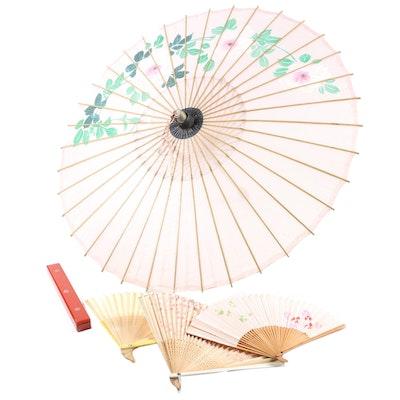 East Asian Parasol, Hand Fans and Chopstix, Vintage