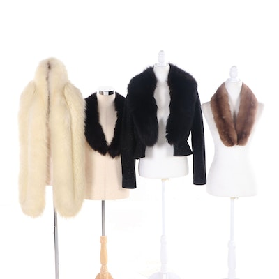 Fur Wraps, Collars and Wool Jacket with Fur Collar, Vintage