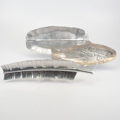 Metal Alloy Leaf Trays with Arthur Court Fish Tray, 1980s