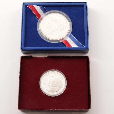 George Washington Half Dollar and Liberty Commemorative Silver Dollar Coins