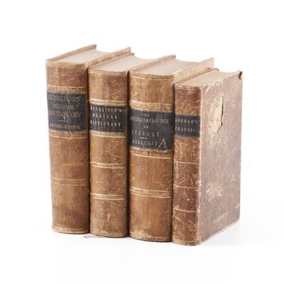 Antique Leather Bound Medical Lexicons and Textbooks