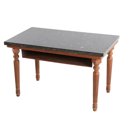Handcrafted Pine Side Table With Marble Top, Circa 1960