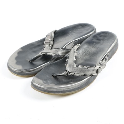 Coach Metallic Silver Leather and Monogram Jacquard Thong Sandals