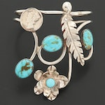 Bill Kirkham Sterling Silver Turquoise Cuff Bracelet with 1942 Mercury Dime