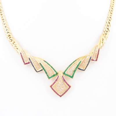 18K Yellow Gold Ruby, Sapphire, Emerald and 2.98 CTW Diamond Necklace