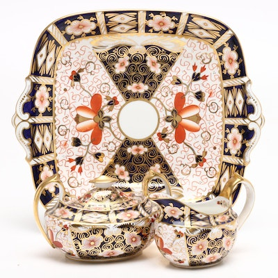 "Royal Crown Derby ""Traditional Imari"" Porcelain Creamer, Sugar, and Cake Plate"