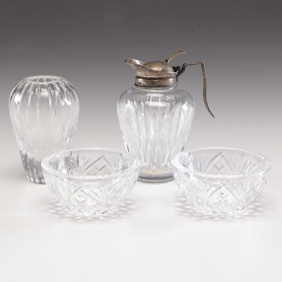 Atlantis Crystal Vase, Finger Bowls and Syrup Pitcher with Sterling Silver
