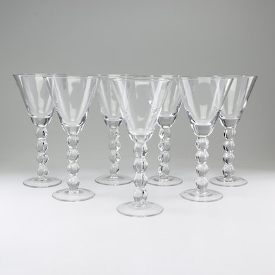 Hand-Blown Cocktail Glasses with Stacked Ball Stems