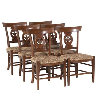 William Switzer Spanish Made Rush Seat Dining Chairs, Set of Six