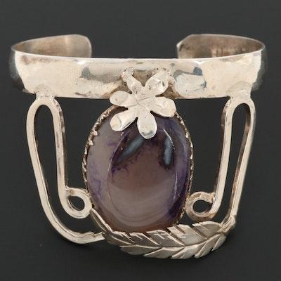 Bill Kirkham Sterling Silver Agate Cuff Bracelet