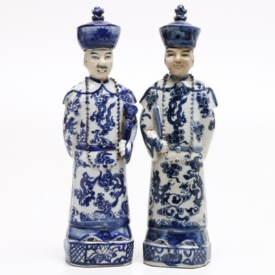 Pair of Chinese Blue and White Porcelain Figurines, Early-Mid 20th Century