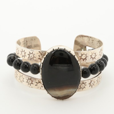 Bill Kirkham Sterling Silver Agate and Black Onyx Cuff Bracelet