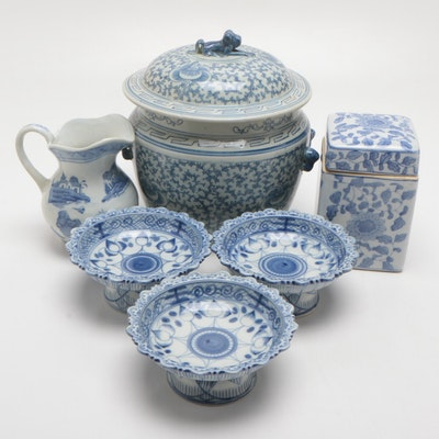 Chinese Lidded Vessels, Pitcher, and Bowls, Mid to Late 20th Century