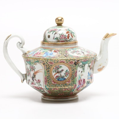 Chinese Hand-Painted Rose Medallion Porcelain Teapot