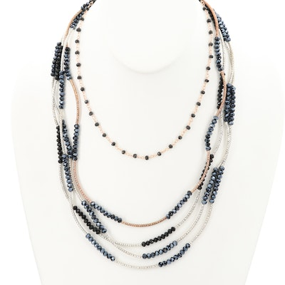 Assorted Glass and Black Onyx Beaded Necklaces